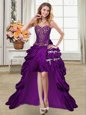 Super High Low Purple Prom Evening Gown Taffeta Sleeveless Beading and Appliques and Pick Ups