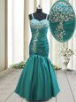 Sexy Mermaid Straps Floor Length Teal Prom Evening Gown Taffeta Sleeveless Beading and Ruching