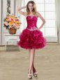 Organza Strapless Sleeveless Lace Up Beading and Ruffles in Fuchsia