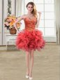 Deluxe Sweetheart Sleeveless Organza Homecoming Dress Beading and Ruffles Lace Up
