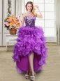 Glittering Eggplant Purple Sleeveless Organza Lace Up Prom Gown for Prom and Party