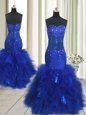 Dazzling Mermaid Royal Blue Sleeveless Beading and Ruffles Floor Length Evening Dress