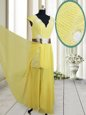 Empire Prom Dress Yellow V-neck Chiffon Cap Sleeves Floor Length Zipper