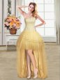 Designer Sequins Gold Sleeveless Tulle Lace Up Evening Dress for Prom and Party