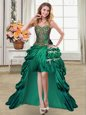 Fitting High Low Lace Up Prom Gown Dark Green and In for Prom and Party with Beading and Appliques and Pick Ups