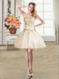 Fabulous Ball Gowns Prom Gown Champagne Sweetheart Tulle Sleeveless Mini Length Lace Up