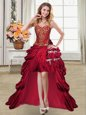 Cute Pick Ups Wine Red Sleeveless Taffeta Lace Up Prom Gown for Prom and Party
