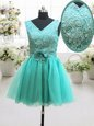 Free and Easy Turquoise V-neck Neckline Beading and Lace and Belt and Hand Made Flower Homecoming Dress Sleeveless Lace Up