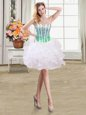Exceptional Mini Length Lace Up White and In for Prom and Party with Beading and Ruffles