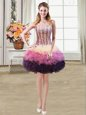 Lovely Organza and Tulle Sweetheart Sleeveless Lace Up Beading and Ruffles and Hand Made Flower Dress for Prom in Red