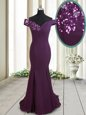 Dark Purple Mermaid Chiffon Off The Shoulder Sleeveless Beading and Sequins Zipper Brush Train