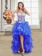 Modest Blue Prom Dresses Prom and Party and For with Beading and Ruffles Sweetheart Sleeveless Lace Up