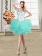 Sophisticated Straps Aqua Blue Organza Lace Up Prom Dresses Sleeveless Mini Length Beading and Ruffles