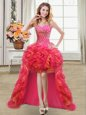 High Class Organza Sleeveless High Low Prom Dress and Beading and Ruffles