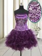 Dark Purple Lace Up Strapless Beading and Ruffles Club Wear Organza Sleeveless