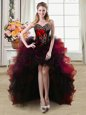 Custom Fit Red Sleeveless Organza and Tulle Lace Up for Prom and Party