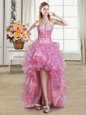 Sweetheart Sleeveless Dress for Prom High Low Sequins Pink Organza