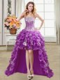Smart Sequins Purple Sleeveless Organza Lace Up Prom Party Dress for Prom and Party