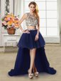 Cheap Scoop Cap Sleeves Tulle Prom Party Dress Beading Zipper