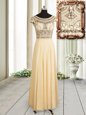 Shining Empire Prom Gown Champagne Scoop Chiffon Cap Sleeves Floor Length Zipper