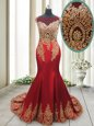 Mermaid Scoop Cap Sleeves Elastic Woven Satin With Brush Train Side Zipper Evening Dress in Red for with Appliques