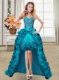 Attractive Teal Ball Gowns Sweetheart Sleeveless Taffeta High Low Lace Up Embroidery and Pick Ups Prom Evening Gown
