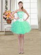 Turquoise Strapless Neckline Beading and Appliques and Ruffles Prom Party Dress Sleeveless Lace Up
