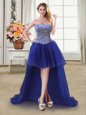 Traditional Beading Celebrity Style Dress Royal Blue Lace Up Sleeveless High Low