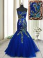 Fantastic Mermaid Blue Tulle Brush Train Sleeveless Beading and Appliques and Sequins