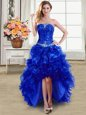 Royal Blue Lace Up Prom Gown Beading and Ruffles Sleeveless High Low