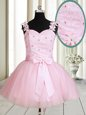 Mini Length Baby Pink Prom Dresses Straps Sleeveless Lace Up