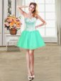 Turquoise Ball Gowns Sweetheart Sleeveless Organza Mini Length Lace Up Beading Evening Dress