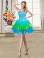 Dynamic Sleeveless Tulle Mini Length Lace Up Homecoming Dress in Multi-color for with Beading and Ruffles