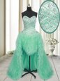 Colorful Apple Green A-line Sweetheart Sleeveless Tulle With Brush Train Lace Up Beading and Ruffles Prom Dress