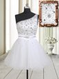 One Shoulder Sleeveless Mini Length Beading Zipper Prom Evening Gown with White