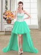 Turquoise Ball Gowns Organza Sweetheart Sleeveless Beading High Low Lace Up Dress for Prom