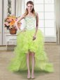 Straps Sleeveless High Low Beading and Ruffles Lace Up Prom Evening Gown with Yellow Green