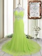 Graceful Yellow Green Column/Sheath High-neck Sleeveless Chiffon Brush Train Backless Beading Celebrity Dress