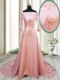 Square Long Sleeves Satin With Brush Train Zipper Mother Of The Bride Dress in Peach for with Beading and Appliques