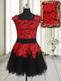 Red And Black Homecoming Dress Prom and Party and For with Appliques Square Sleeveless Zipper