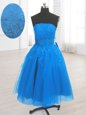 Sleeveless Organza Knee Length Lace Up Dress for Prom in Blue for with Embroidery