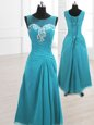 Fancy Teal Chiffon Lace Up Scoop Sleeveless Floor Length Prom Party Dress Beading and Ruching