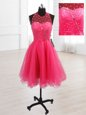 Hot Pink High-neck Neckline Sequins Prom Dresses Sleeveless Lace Up