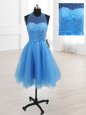Organza High-neck Sleeveless Lace Up Sequins Evening Dress in Baby Blue