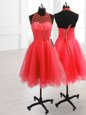 Watermelon Red Prom Dresses Prom and Party and For with Sequins High-neck Sleeveless Lace Up