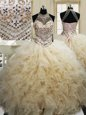 Fantastic Halter Top Champagne Lace Up 15th Birthday Dress Beading and Ruffles Sleeveless Floor Length