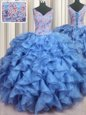 Ruffled V-neck Sleeveless Organza Quince Ball Gowns Appliques and Ruffles Lace Up