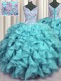 Ruffled V Neck Aqua Blue Sleeveless Floor Length Appliques and Ruffles Lace Up Vestidos de Quinceanera