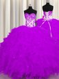 Smart Purple Ball Gowns Organza Sweetheart Sleeveless Appliques and Ruffles Floor Length Lace Up Quinceanera Dresses