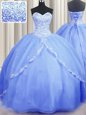 Fine Brush Train Baby Blue Sweetheart Neckline Beading and Appliques Quince Ball Gowns Sleeveless Lace Up